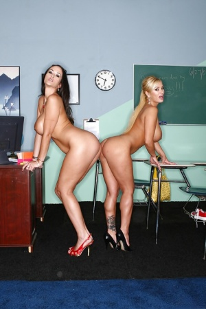 Steaming hot teachers with huge tatas stripping down in the classroom