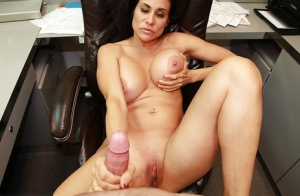 Top-heavy mature lassie jerks off a stiff cock for jizz on her face and rack