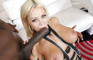 Glamorous european slut fucks a huge black boner and milks it with her mouth