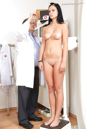 Yummy brunette goes to her nasty doctor for a pussy check-up