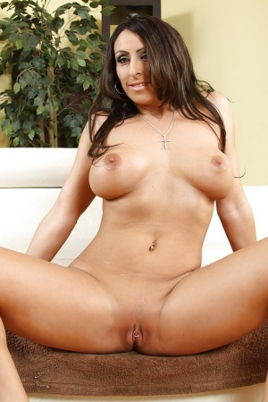 Ravishing latina MILF  in jeans undressing and spreading her legs