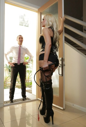 Blonde milf Alena Croft dominating over her poor lover in latex outfit 26497213