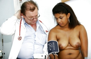Fat bitch Manuela has her big tits and her pussy teased by her doctor