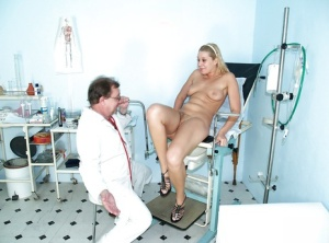 Fetish blonde Tina is in gyno cabinet to check that hairy pussy