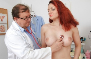 Pretty fetish milf Beatrix gets her hairy pussy checked and fingered