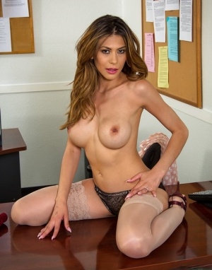 Brunette big tit babe Heather is one sexy secretary in lingerie