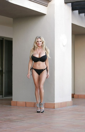 Gorgeous milf Kelly Madison is demonstrating her long legs in a bikini