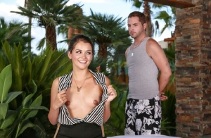 Oiled Latina babe with tiny tits Allie Haze shows off her ass outdoor