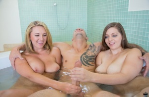 Threesome fuck features big tits babes Jessica Roberts and Brooke Wylde