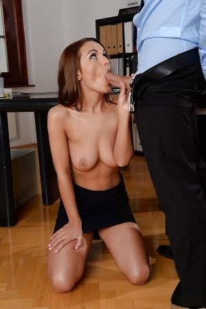 European cutie with saggy tits Dominica Fox shows off in office