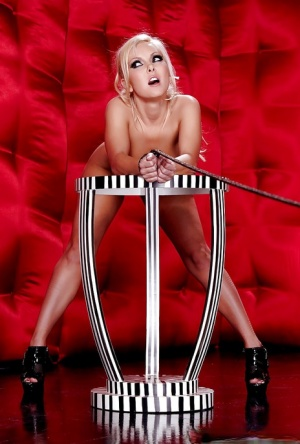 Beautiful blonde Aaliyah Love poses on her high heels with tied hands 94649070