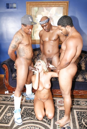 Perverted interracial gangbang with awesome blonde Katie Summers