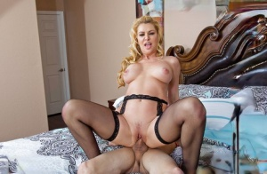 Sweet busty cougar Sasha Sean takes off her lingerie and fucks