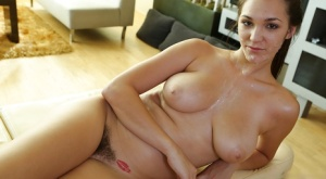 Oiled brunette Holly Michaels is banging in her hairy vagina