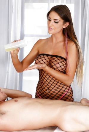 Glamorous babe in fishnet August Ames gives head as she like!