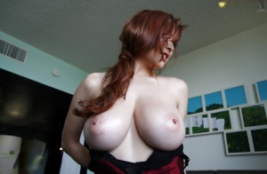 Pornstar babe with big boobs Tessa Fowler shows off her body