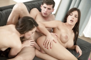 Two lesbians Cecilia De Lys and Tiffany Doll are sucking dick