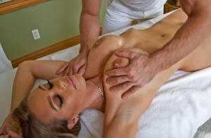 Nicole Aniston gettingan ass massage and gives a hot blowjob in the voyeur