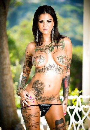 Curious Latin whore Bonnie Rotten shows her web-style tattoos