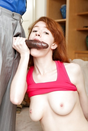 Young redhead Abby Rains face fucked by older mans big black dick