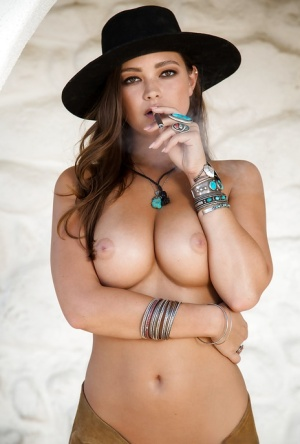 Hot centerfold model material Chelsie Aryn smoking outdoors in woods