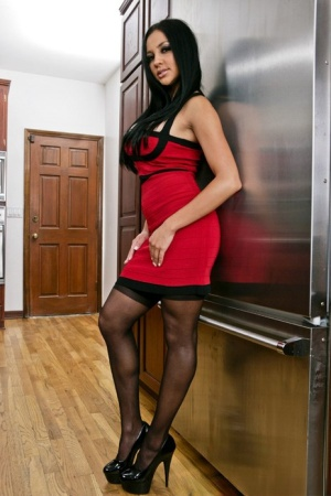 Pornstar babe in stockings Audrey Bitoni shows her sexy cunt