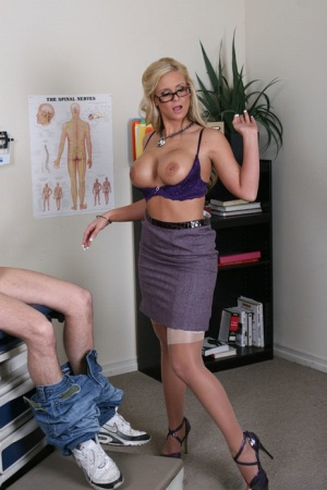 Big titted doctor in stockings Phoenix Marie strips uniform for a fuck