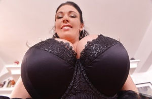 Your dick will explode for busty maid Delzangels striptease show