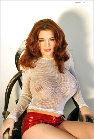 Hot Euro broad Danielle Riley looking sultry in glasses and mesh top