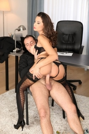 Busty MILF Sensual Jane rides a big dick at work for a cumshot on tits