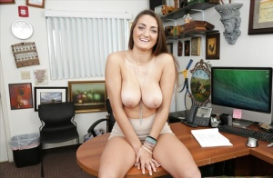 Busty chick Tiffany Wells shows off her big natural tits for first time