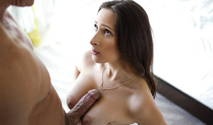 Beautiful brunette Ashley Adams giving nice bj and taking cum on face