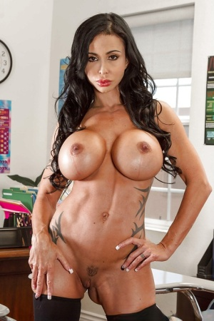 Buxom Latina Jewels Jade unzips bustier to expose massive melons