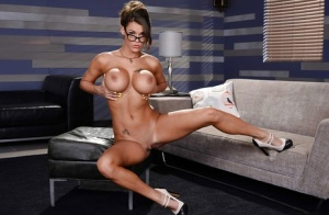 Busty babe in glasses and hot lingerie Peta Jensen spreading pink pussy