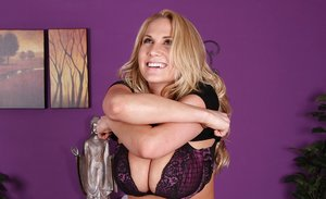 Blonde babe Alanah Rae undressing to reveal big hooters and underwear