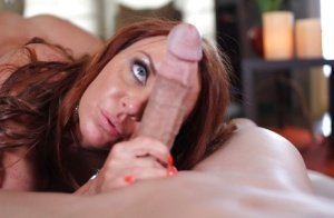 Janet Mason worships and licks a gigantic monster white cock