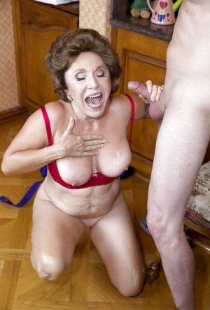 Older Latina chick Luna Azul riding and jerking younger mans cock