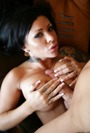 Sexy brunette chick gives large penis a blowjob before riding cock
