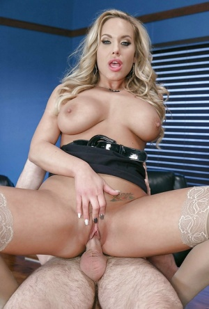 Blonde office worker Olivia Austin lets big boobs free before pussy licking