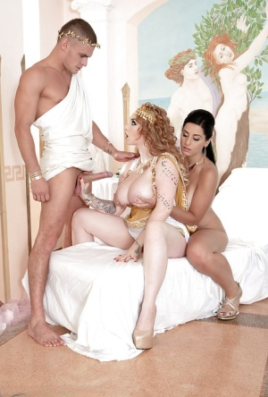 Busty cosplay chick Harmony Reigns and gf lick pussy and suck cock in 3some