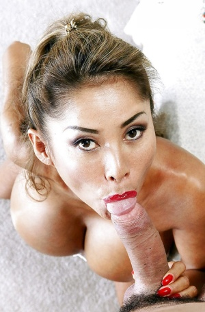 Chesty Asian MILF Minka gives and receives oral sex before cumshot on tits