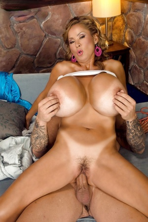 Chesty older Asian Minka licking ball sac and blowing cock for cum on tits