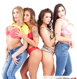 High heeled lesbians strip off lingerie and jeans to expose nice melons
