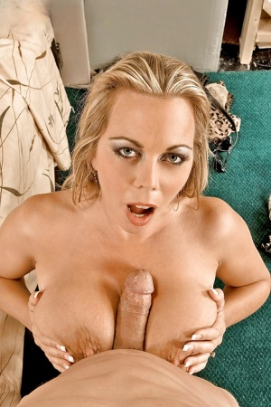 Chesty blonde mom Amber Lynn Bach giving large dick a blowjob