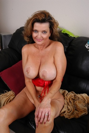 Older chubby with large natural tits spreading hairy pussy for clit viewing