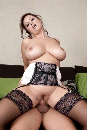 Chubby maid with large hangers giving ball licking bj before hardcore sex