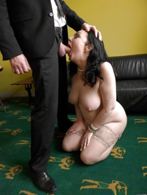 Stocking attired first timer Harley Sin taking hardcore face and cunt fuck