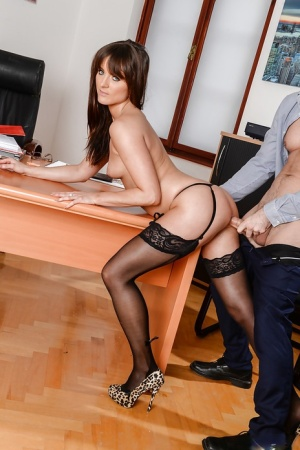 Stocking attired Lydia Lust fucking the boss at work and swallowing his cum 78949115