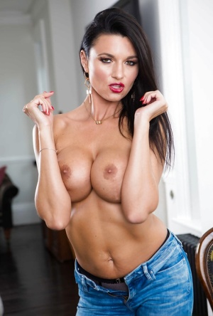 European MILF Ania Kinski stripping off blue jeans and sexy lingerie