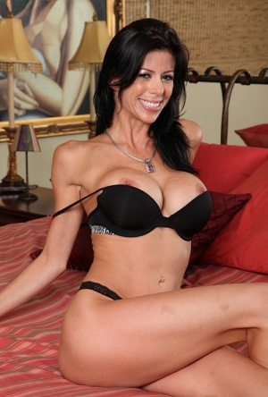 Thin brunette MILF Alexis Fawx peeling off lingerie to model in the nude